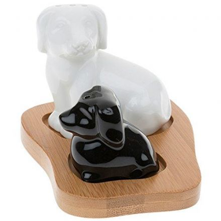Black and White Dog, Puppy Cruet Set, Bamboo Stand